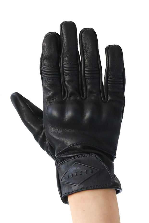 Liberta Moto Men's Cobra Black Leather Motorcycle Gloves at Moto Est. 1