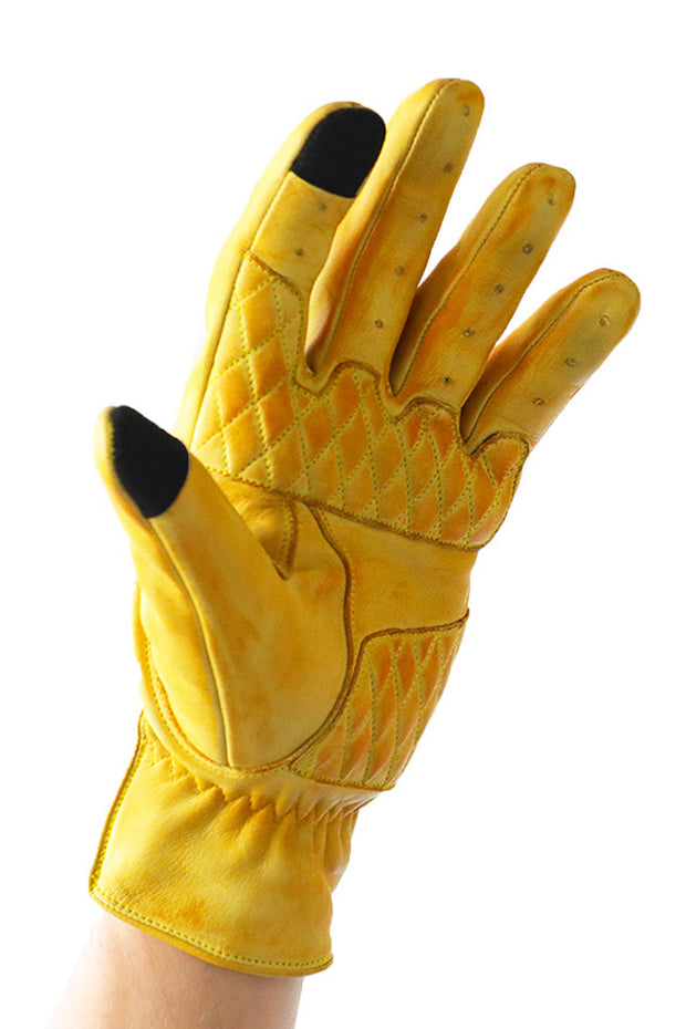 Liberta Moto Men's Cobra Yellow Leather Motorcycle Gloves at Moto Est. 2