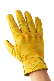 Liberta Moto Men's Cobra Yellow Leather Motorcycle Gloves at Moto Est. 1