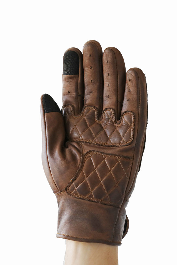 Liberta Moto Men's Kiwi Brown Leather Motorcycle Gloves at Moto Est. 2