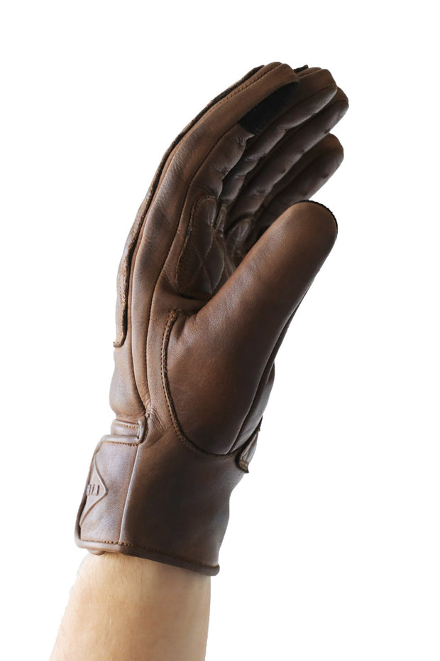 Liberta Moto Men's Kiwi Brown Leather Motorcycle Gloves at Moto Est. 3