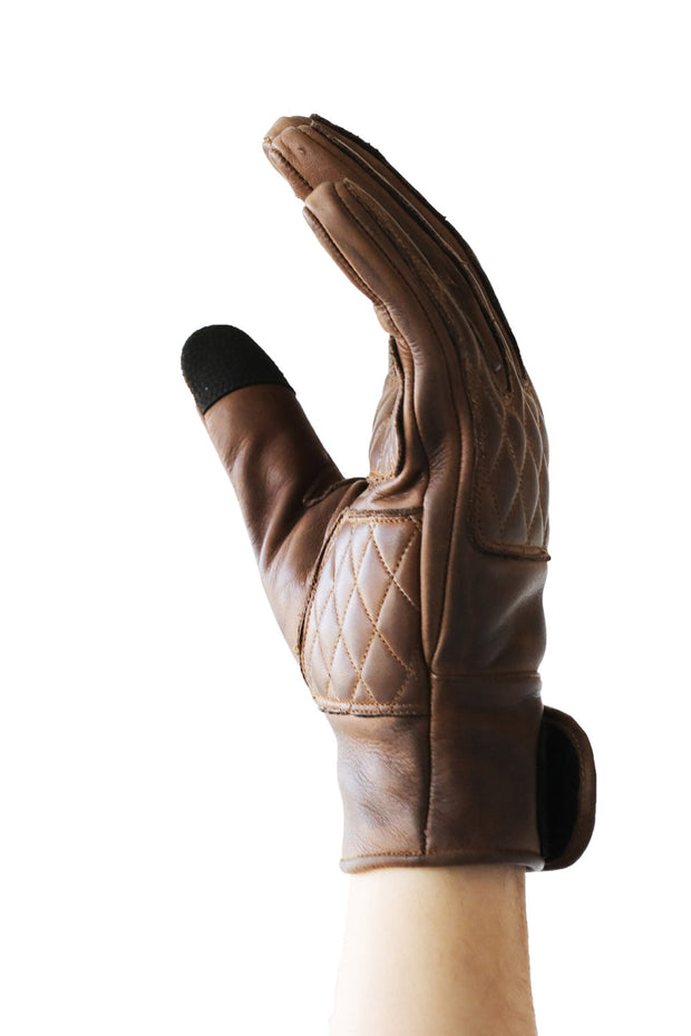Liberta Moto Men's Kiwi Brown Leather Motorcycle Gloves at Moto Est. 4