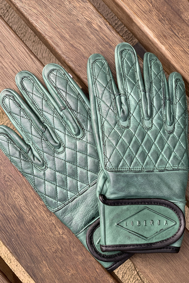 Liberta Moto Gear Women's Kiwi Green Leather Motorcycle Gloves 4