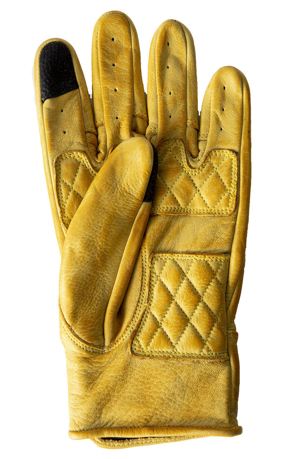 Liberta Moto Gear Women's Kiwi Yellow Leather Motorcycle Gloves 2