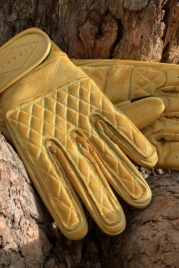 Liberta Moto Gear Women's Kiwi Yellow Leather Motorcycle Gloves 4