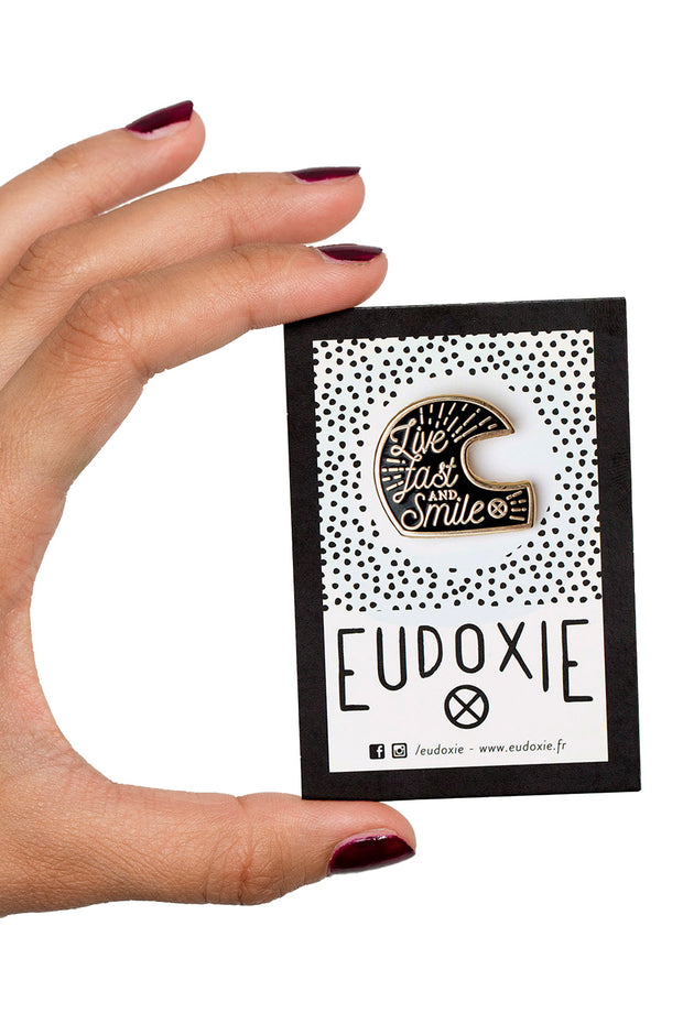 Eudoxie Live Fast and Smile helmet pin