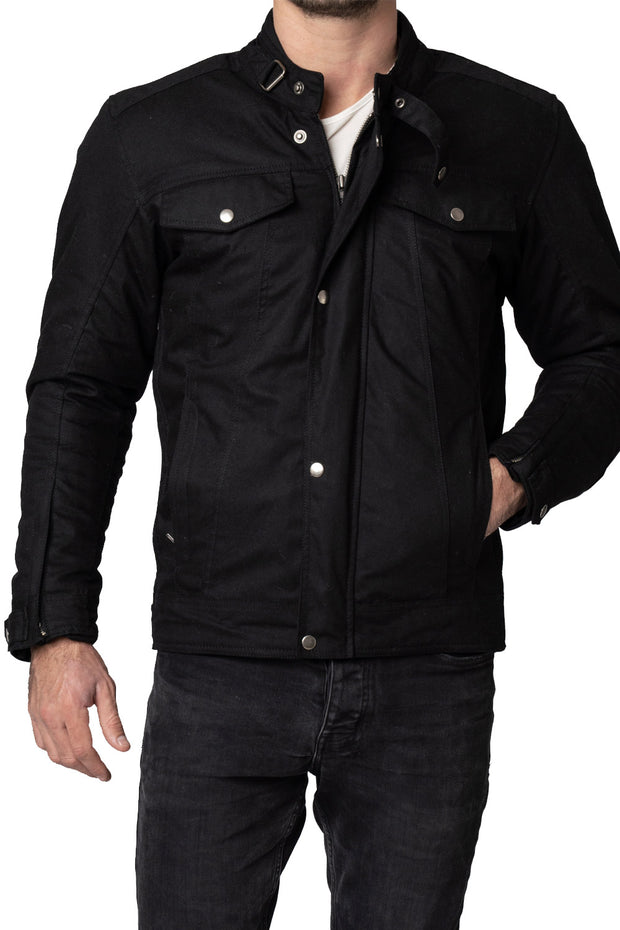 Buy the blackbird winton mens waxed cotton motorcycle jacket online at Moto Est. Australia 3