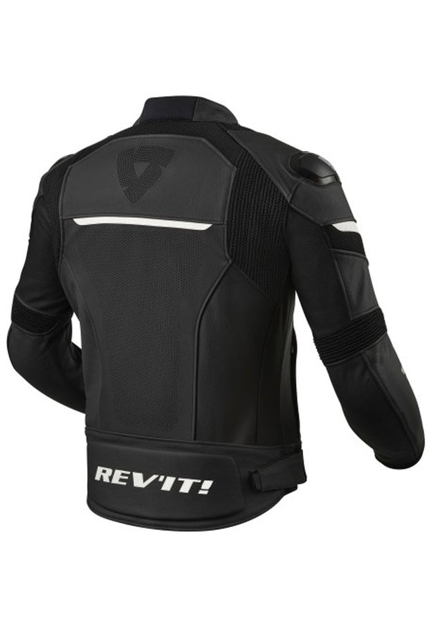 Buy the revit convex leather jacket black white online at Moto Est. Australia