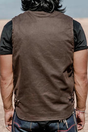Buy the tobacco mens wasteland motorcycle vest brown online at Moto Est. Australia