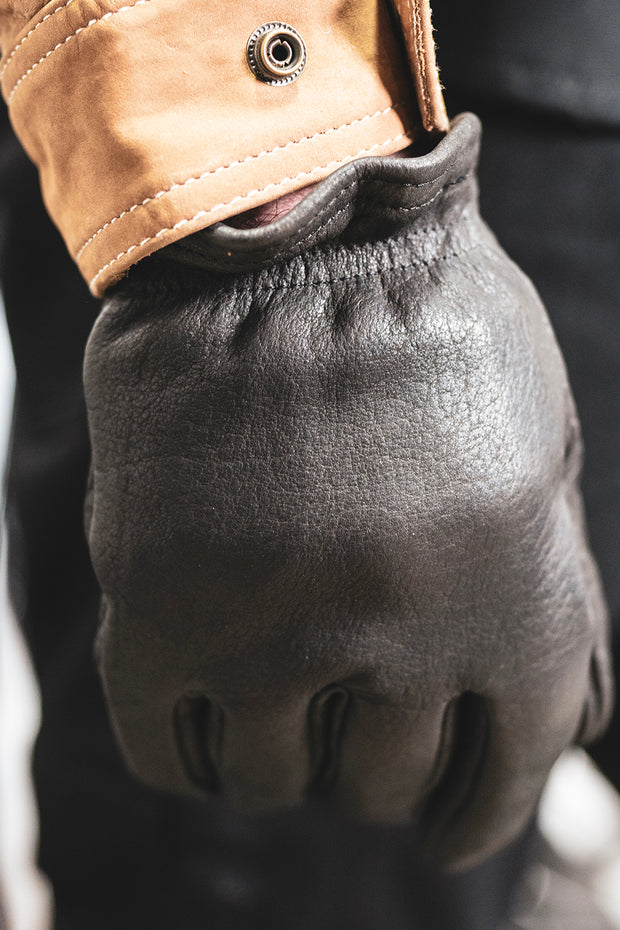 Grifter Company  Scoundrel Blackout Leather Motorcycle Gloves