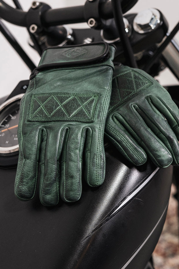 78 Motor Co.  Sirocco Emerald Green Leather Motorcycle Gloves