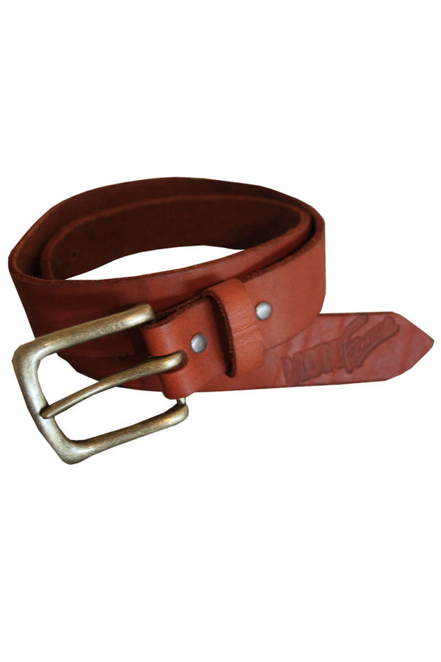 Moto Femmes Moto Femmes Logo Stonewashed Leather Belt in Brown online at Moto Est. Australia