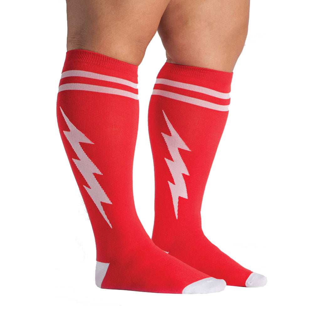 66376a6e5 Sock It To Me Red & White Superhero Stretch-It Knee High Socks - Moto