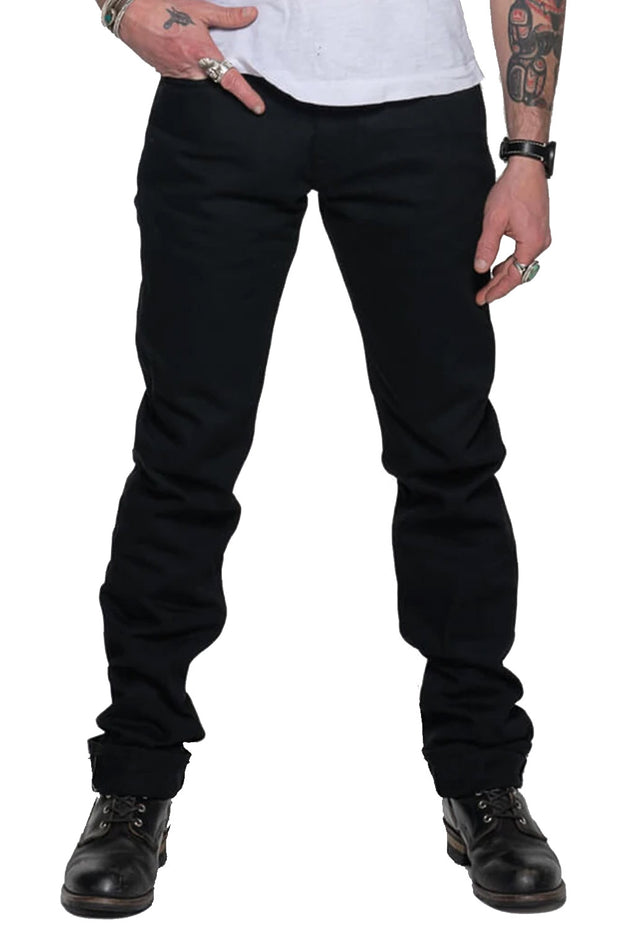 Tobacco Men's Archetype Black Raw Denim Motorcycle Jeans - Moto Est. 1