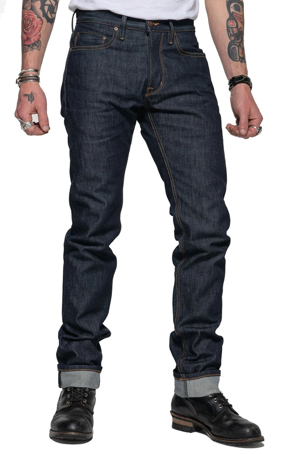 Tobacco Men's Archetype Indigo Selvedge Raw Denim Motorcycle Jeans - Moto Est. 1