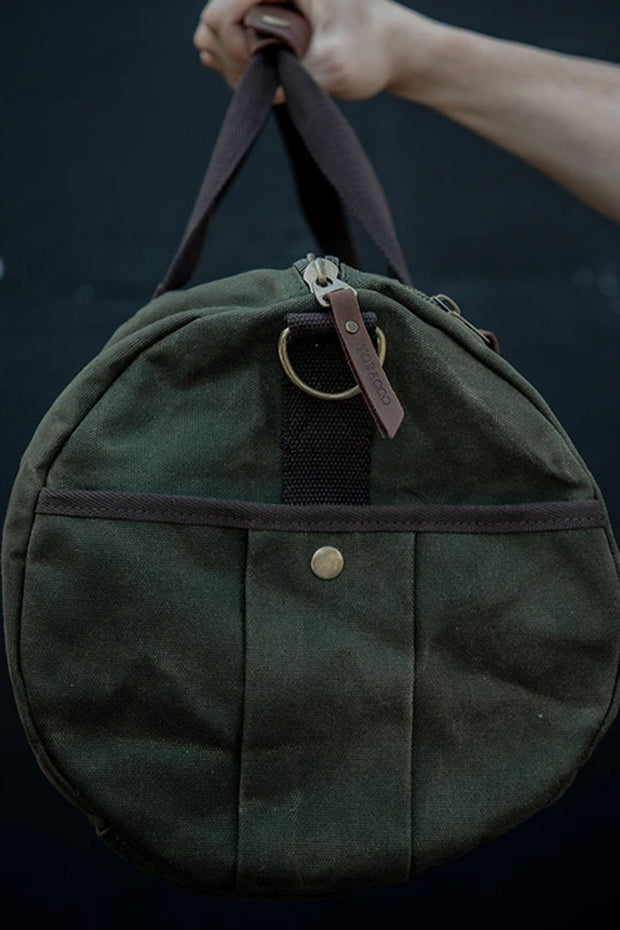Tobacco motorwear hustle duffle canvas motorcycle bag online at Moto Est. Australia side pocket
