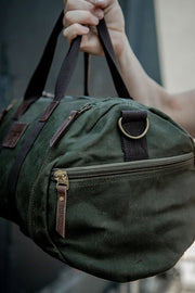 Tobacco motorwear hustle duffle canvas motorcycle bag online at Moto Est. Australia army green