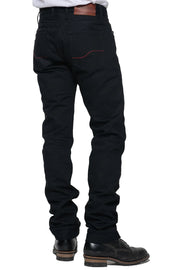 Tobacco Men's Archetype Black Raw Denim Motorcycle Jeans - Moto Est. 3