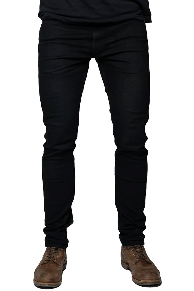Tobacco Motorwear Riot Men's Stretch Skinny Fit Black Raw Denim Motorcycle Jeans - Moto Est. 1