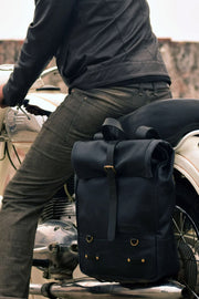 Buy the trip machine classic roll top backpack pannier black online at Moto Est. Australia