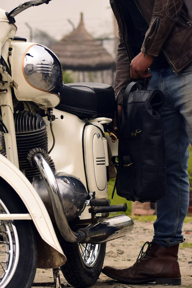 Buy the trip machine classic roll top backpack pannier black online at Moto Est. Australia 4