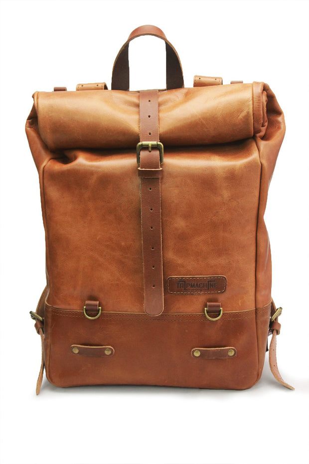 Trip Machine Classic Roll Top Backpack Pannier in Tan online at Moto Est. Australia