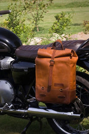 Buy the trip machine classic roll top backpack pannier tan online at Moto Est. Australia