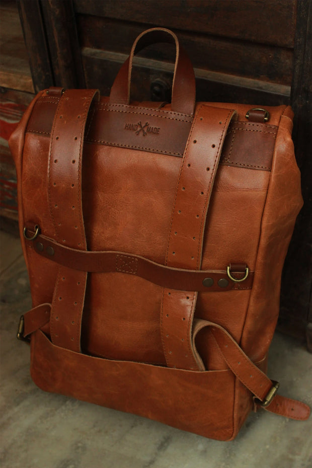 Buy the trip machine classic roll top backpack pannier tan online at Moto Est. Australia 3