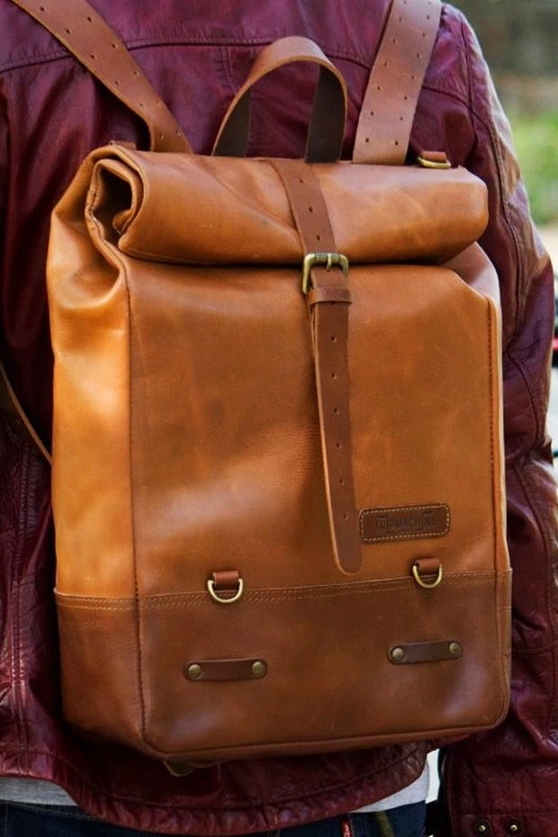 Buy the trip machine classic roll top backpack pannier tan online at Moto Est. Australia 4