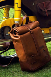 Buy the trip machine classic roll top backpack pannier tan online at Moto Est. Australia 5