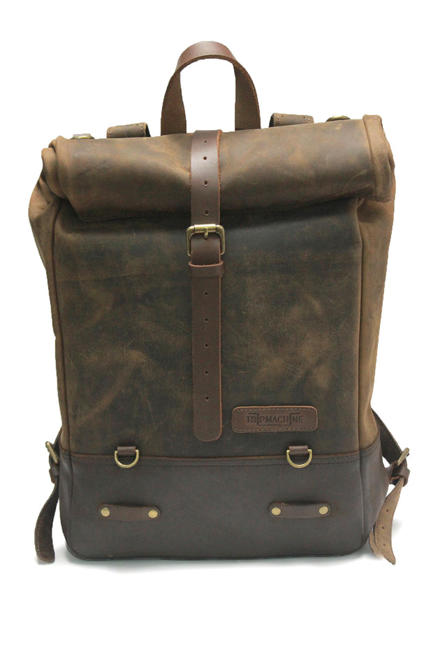 Trip Machine Classic Roll Top Backpack Pannier in Tobacco online at Moto Est. Australia