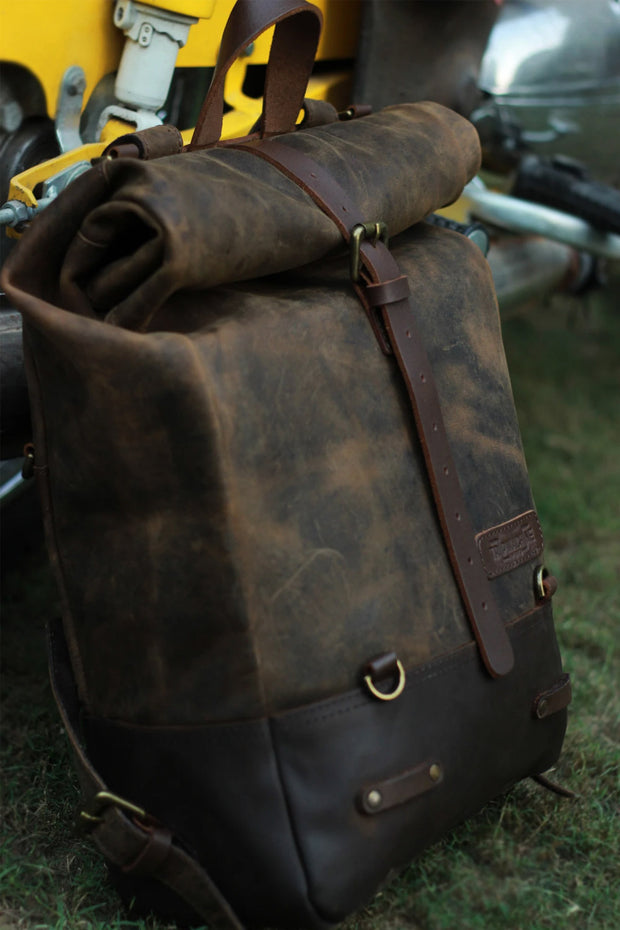 Buy the trip machine classic roll top backpack pannier tobacco online at Moto Est. Australia