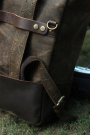 Buy the trip machine classic roll top backpack pannier tobacco online at Moto Est. Australia 3