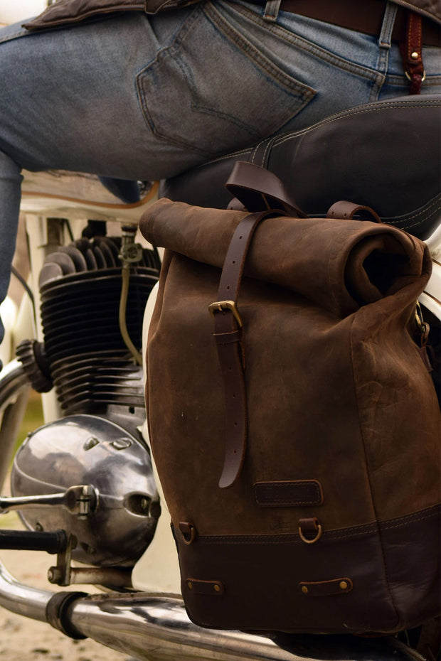 Buy the trip machine classic roll top backpack pannier tobacco online at Moto Est. Australia 4