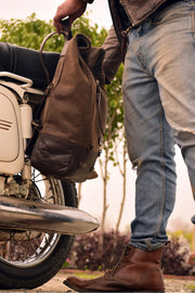 Buy the trip machine classic roll top backpack pannier tobacco online at Moto Est. Australia 5