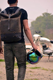 Buy the trip machine classic roll top backpack pannier tobacco online at Moto Est. Australia 6