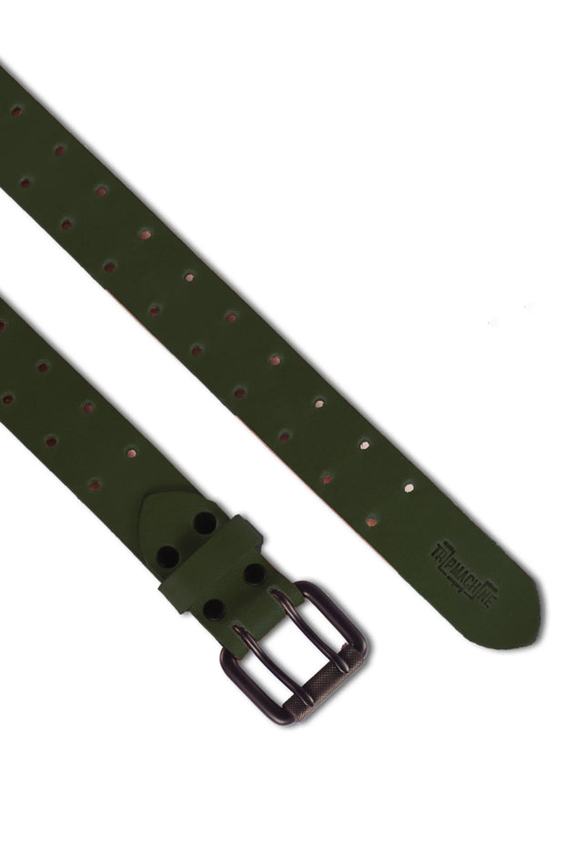 Buy the trip machine double pin belt army green online at Moto Est. Australia