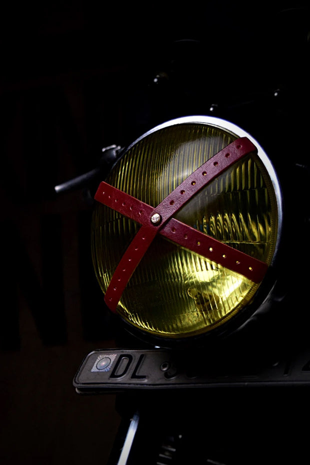 Buy the headlight perforated leather x tape cherry red online at Moto Est. Australia