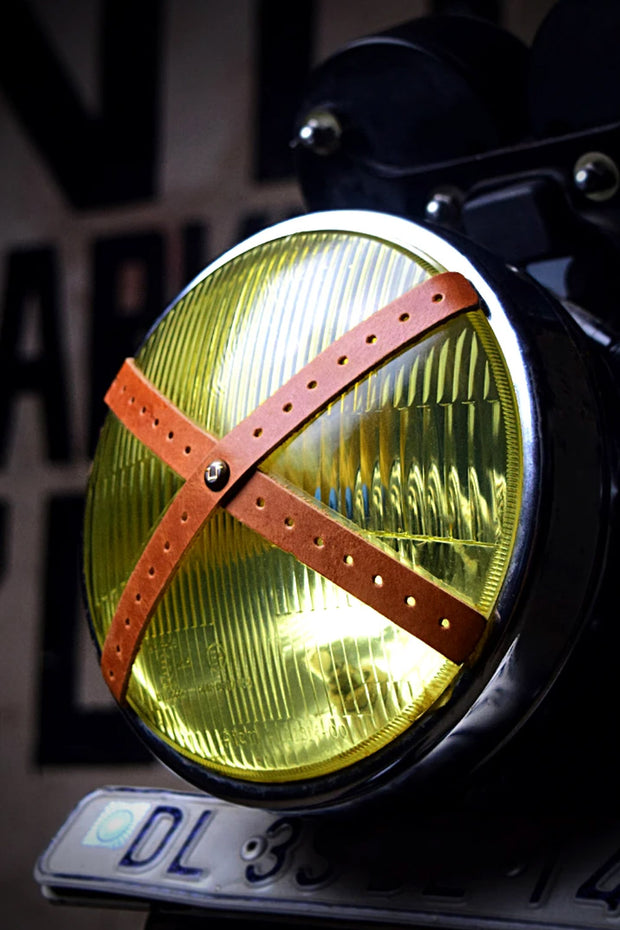 Buy the headlight perforated leather x tape tan online at Moto Est. Australia