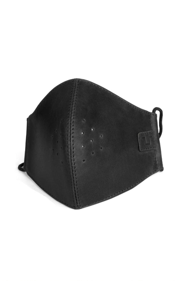 Trip Machine Black Leather Motorcycle Face Mask with filters at Moto Est. Australia 1