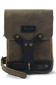 trip machine leather thigh bag in tobacco