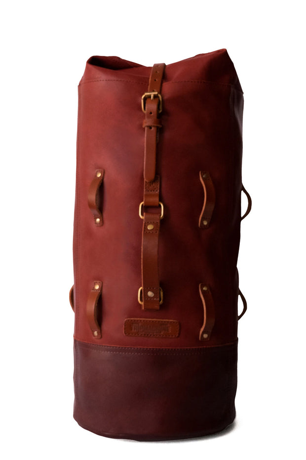 Trip Machine Cherry Red Military Duffle Leather Motorcycle Bag - Moto Est. 1