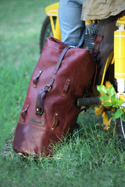 Trip Machine Cherry Red Military Duffle Leather Motorcycle Bag - Moto Est. 3