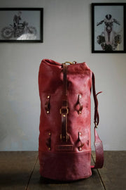 Trip Machine Cherry Red Military Duffle Leather Motorcycle Bag - Moto Est. 5