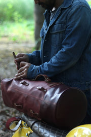 Trip Machine Cherry Red Military Duffle Leather Motorcycle Bag - Moto Est. 2