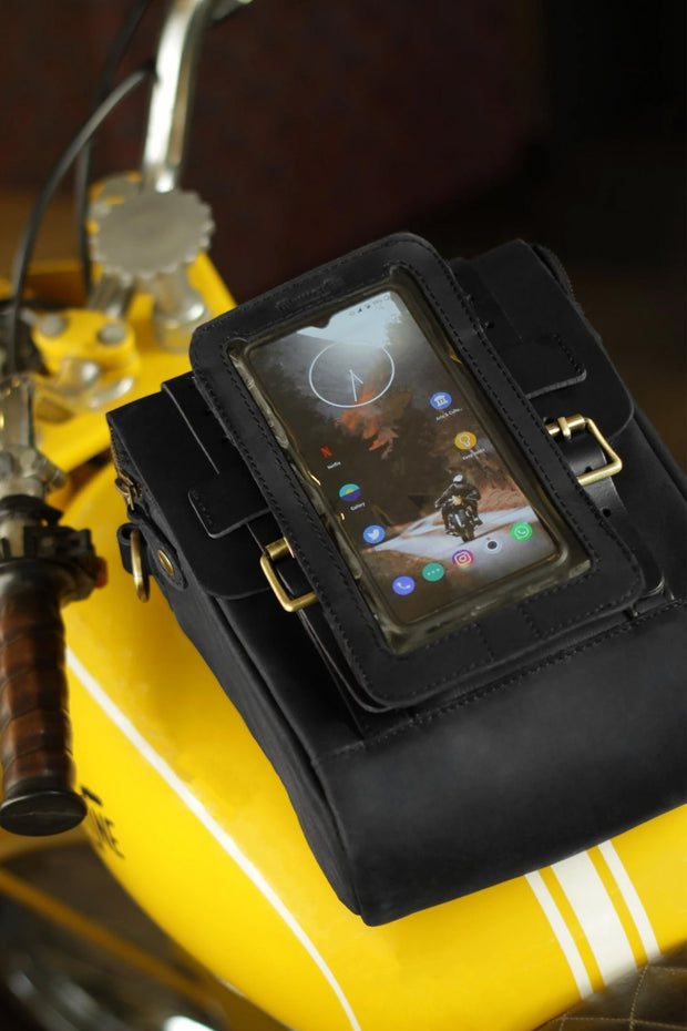 Trip Machine Company Leather Motorcycle Phone Pouch Black - Moto Est. 3