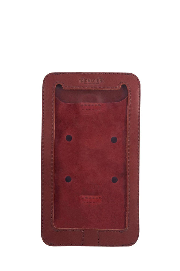 Trip Machine Company Leather Motorcycle Phone Pouch Cherry Red - Moto Est. 1