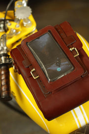 Trip Machine Company Leather Motorcycle Phone Pouch Cherry Red - Moto Est. 3