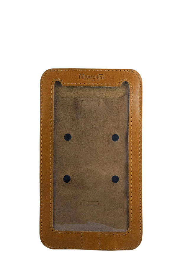 Trip Machine Company Leather Motorcycle Phone Pouch Tan - Moto Est. 1
