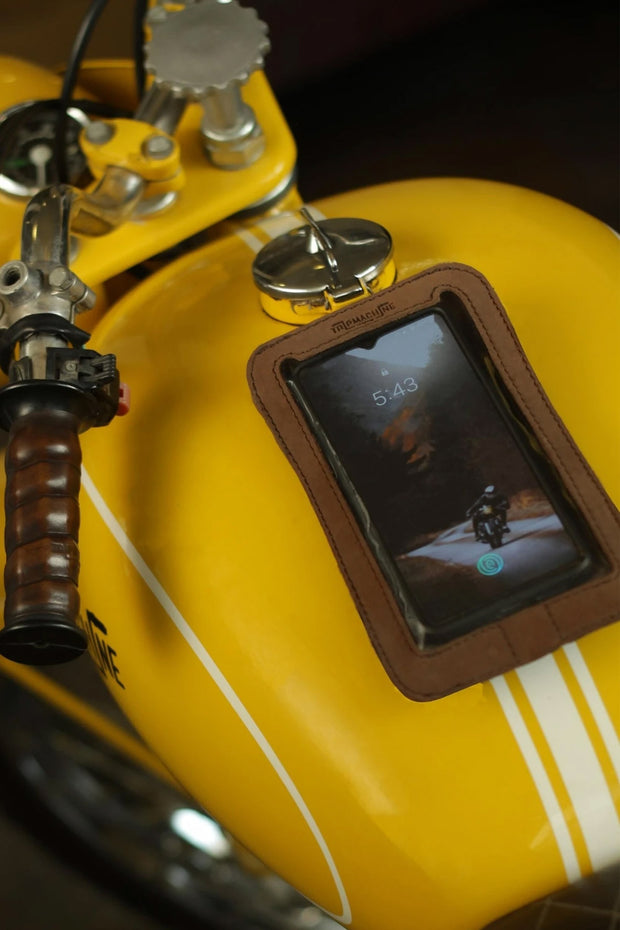 Trip Machine Company Leather Motorcycle Phone Pouch Tobacco - Moto Est. 2